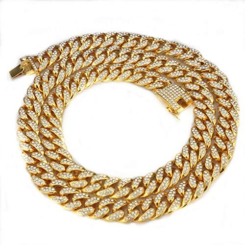 pobpop Mens Cuban Link Chain Gold Bling Miami Cuban Necklace Iced Out Fake Diamond Tennis Chain for Men Women (16 inches)