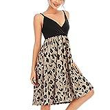 Funwave, vestito da donna con scollo a V, senza maniche, stile casual, estivo, con stampa floreale, vestito da spiaggia Leopard XL