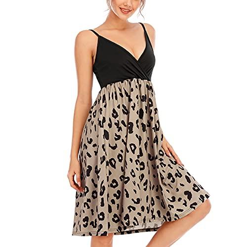 Vestido casual de la mitad de la longitud del vestido de la impresión de la moda de la costura del cuello en V una línea de vestido, leopardo, XXXL