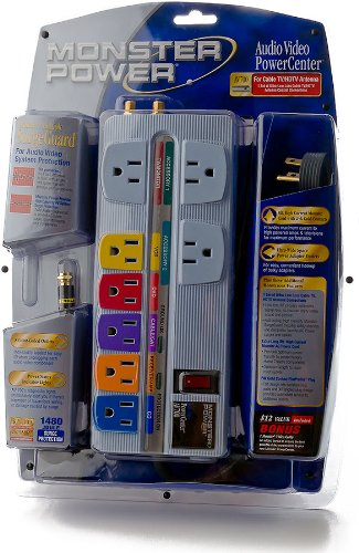 Monster Cable PowerCenter Audio/Video Surge Protector (MPAV700RP) (MP AV700 RP) (Discontinued by Manufacturer)