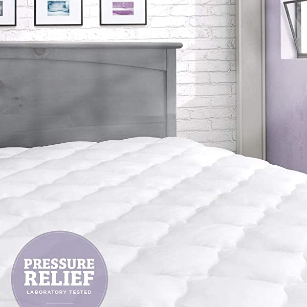 ELuxurySupply Pressure Relief Mattress Pad With Fitted Skirt Bedsore Prevention Mattress Pads Hypoallergenic Mattress Topper Made In The USA Queen