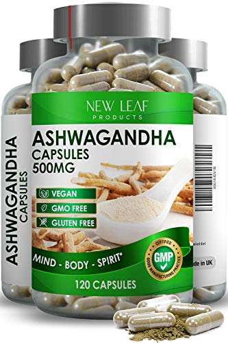 Ashwagandha Capsules One A Day - 100% Natural Ayurveda -Ashwagandha Root Powder Vegan per Serving - Supplement - GMO-Free, Gluten-Free, GMP - Known as Withania Somnifera - 120 Capsules
