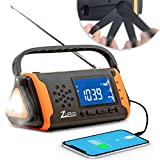 Emergency Radio with NOAA Weather Alert - Hand Crank & Solar Powered Hurricane Radio – AM FM Weather Survival Radio with Battery Backup, Flashlight, Phone Charger, SOS Alarm, & Bonus Survival Whistle
