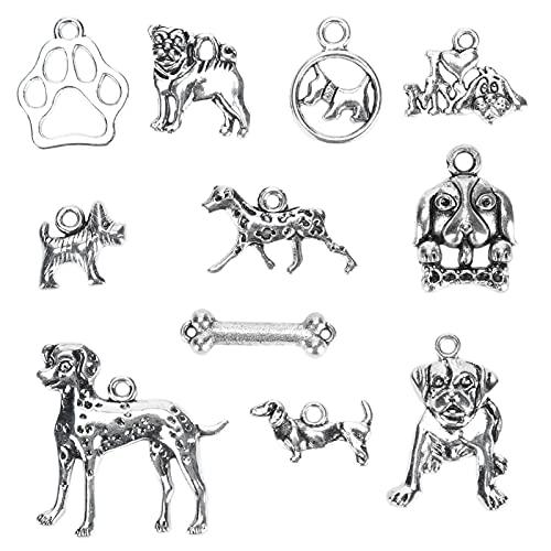 Encantos para hacer joyas 11 piezas mezclados con forma de perro colgantes de plata colgantes DIY...