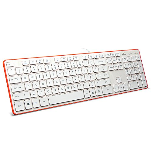 BFRIENDit Wired USB Keyboard, Comfortable Quiet Chocolate Keys, Durable Ultra-Slim Wired Computer Keyboard for PC, Windows 10/8 / 7 / Vista, KB1430 - White & Orange
