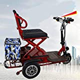 Silla de ruedas eléctrica Mini portátil plegable eléctrico triciclo Adecuado for la rueda de ancianos / batería de litio de viajes minusválidos Ocio al aire libre móvil de ciclomotores / 12AH / 20AH 5