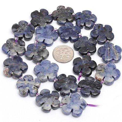 JOE FOREMAN 20mm Sodalite Semi Precious Gemstone Flower Loose Beads for Jewelry Making DIY Handmade Craft Supplies 15