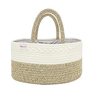 Celesto Baby Diaper Caddy Organizer – Nursery Storage Bin – Car Organizer for Diapers – Changing Table Organizer Basket – Shower storage Gift – Cotton Canvas Portable Diaper Storage Basket (Beige)