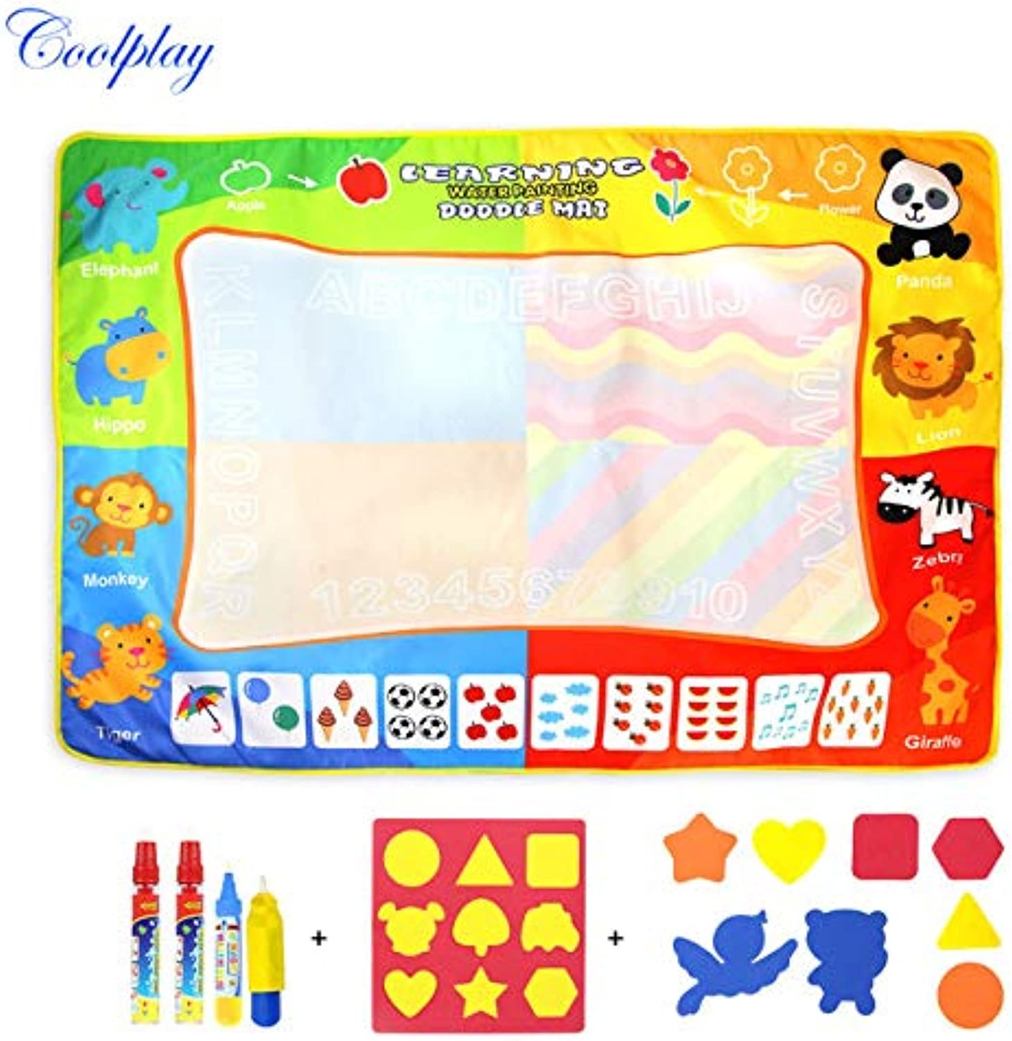 Laliva Big Water Drawing Board & 3 Magic Doodle Pens & 1 Brush & 17 Stamps Water coloring Book Painting Pad Toys for Kid Gift } - (color  1 Set)
