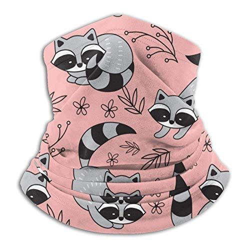 Coodream Pasamontañas de microfibra con diseño de mapaches jugando en un melocotón, para el cuello, bufanda para clima frío, para invierno, deportes al aire libre, pasamontañas, unisex