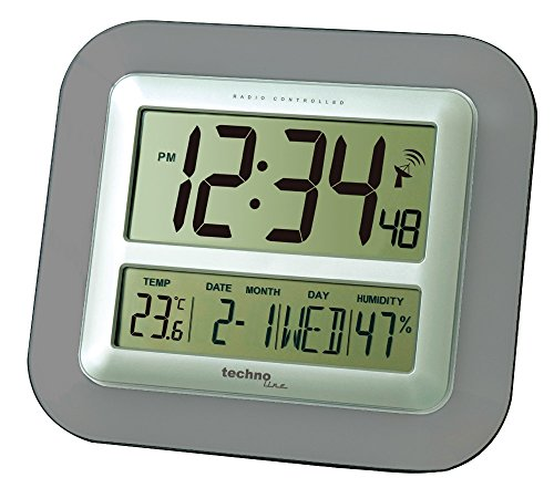 Technoline Jumbo-Funk-Wanduhr WS 8006 Kalender Temperaturanzeige (anthrazit mit Batterien)