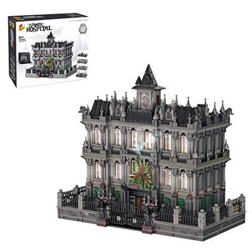 HYZM Architektur Lunatic Asylum mit LED Beleuchtung, 7537 Klemmbausteine 3 Etagen KrankenhausModular Haus, Bausteine Bausatz Kompatibel mit Lego