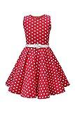 BlackButterfly Niñas 'Audrey' Vestido de Lunares Vintage Años 50 (Rojo, 13-14 Años)