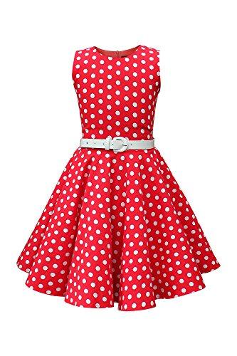 BlackButterfly Kinder 'Audrey' Vintage Polka-Dots Kleid im 50er-J-Stil (Rot, 11-12 J / 146-152)