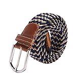 Irypulse Cintura intrecciata in tela treccia elastica di Uomo Donna Tessuto Cinghia di lega di cuoio PU elasticizzata per Cinture di tessitura in lega fibbia in pelle Unisex multicolore