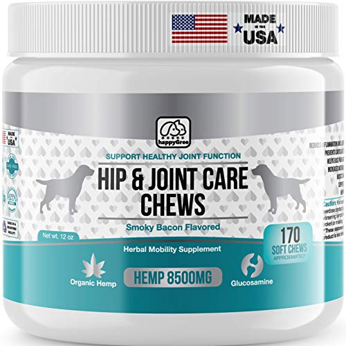 HAPPYGREE Hip & Joint Supplement for Dogs | 170 Soft Chews | Mobility Glucosamine for Dogs | Chondroitin | MSM | Turmeric | Joint Pain Relief Treats | Made in The USA | Smoky Bacon Flavor
