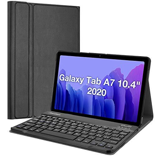 ProCase Custodia con Tastiera Italiana per Galaxy Tab A7 10.4 2020[SM- T500 /T505 /T507], Cover Sottile Leggera Shell Sottile con Tastiera Wireless Staccabile Magnetica -Nero