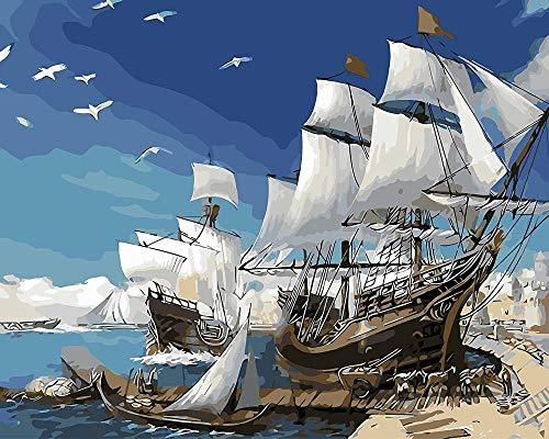 Malen nach Zahlen für Erwachsene und Kinder DIY Ölgemälde Geschenk-Kits Vorgedruckte Leinwand Kunst Home Decoration-Weißes Schiff und Möwe 16 * 20 Zoll-ohne Rahmen