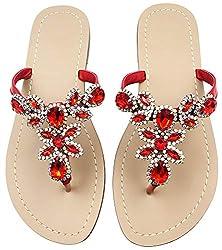 Red Rhinestone Flat Flip Flop Sandal