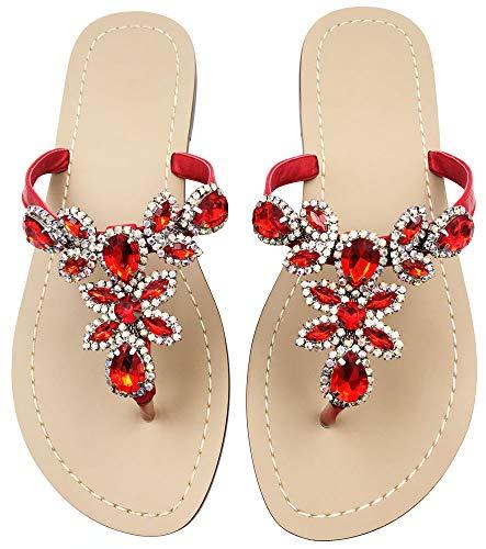 Women's Summer Rhinestone Bling Wedding Sandals Flat Sandals Summer Flip Flops Shoes,T Strap Beach Slippers Shoes Size 9 Red