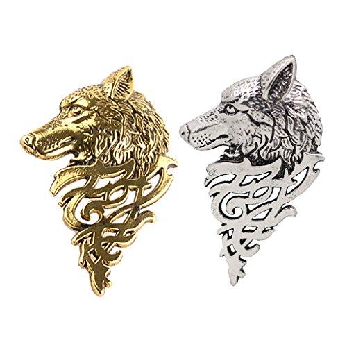 Harilla 2 Stück Vintage Wolf Kopf Krawattennadel Brosche Mit Keltischem Design Viking Tribal Badge