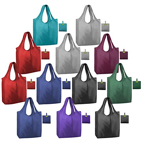 Foldable Shopping Reusable Bags Bulk Set of 12 Lightweight Durable Cute Plain Grocery Totes Pouch...