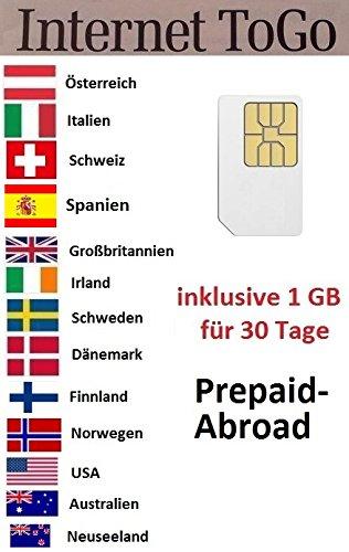 Prepaid Daten Sim Karte (mobiles Internet) für die USA, Australien, Neuseeland, Spanien, Schweiz, Norwegen, Finnland, Schweden, Dänemark, Österreich, Italien, Großbritannien und Irland mit 1 GB Guthaben