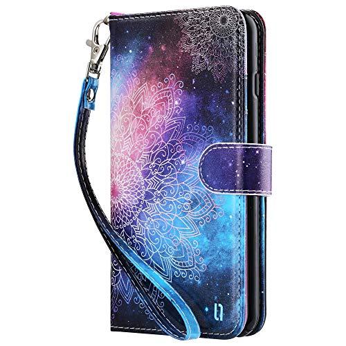 ULAK iPhone 7 Plus/8 Plus Hülle, Stylische Lederhülle Flip Cover Brieftasche Schutzhülle Tasche Handyhülle Magnet Standfunktion mit Kartenfächer Case für iPhone 7 Plus/iPhone 8 Plus - Mandala Blumen