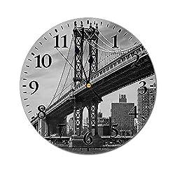 New York 3D Print Round Wall Clock,Bridge of NYC Vintage East Hudson River Image USA Travel Top Place City Photo Art Print 10 Inch Battery Operated Quartz Analog Quiet Desk Clock,Grey