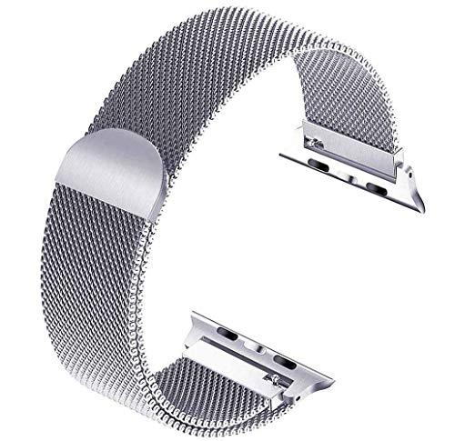 Tervoka Ersatzarmband kompatibel mit Apple Watch Armband 40mm 38mm, Metal Edelstahl Armband mit Magnet kompatibel mit iWatch Series 6/5/4/3/2/1, Silber