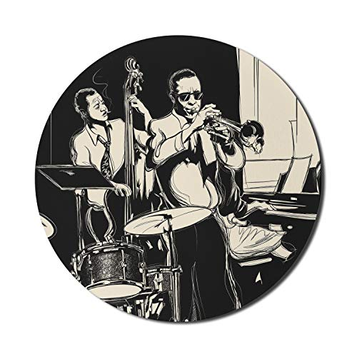 """Ambesonne Jazz Music Mouse Pad for Computers, Nostalgic Theme Band with Double Bass Trumpet Piano and Drums, Round Non-Slip Thick Rubber Modern Gaming Mousepad, 8"""" Round, Charcoal Grey Champagne"""