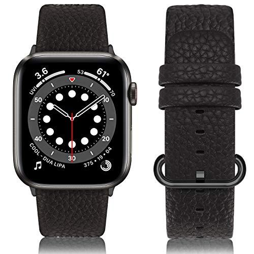 Fullmosa Compatible avec Bracelet Apple Watch 38mm/40mm,Bracelet iWatch Series SE/6/5/4/3/2/1 Band Homme et Femme,Bracelet de Montre Connectée en Cuir de Remplacement,Space Gris-GM