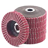 Keadic 6PCS 4 Inch 240 Grit Red Nylon Fiber Flap Discs with Sandpaper, Ideal for Paint Remove & Stainless Steel Tube Polishing
