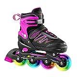 Hiboy Patines en línea ajustables con todas las ruedas iluminadas, patines para exteriores e interiores, para niños, niñas y principiantes (mediano: 35-38), color rosa