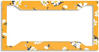 License Plate Frames Alumina Car Licence Plate Covers Slim Design for US Standard - Retro Daisy Simple Yellow Florals Seamless