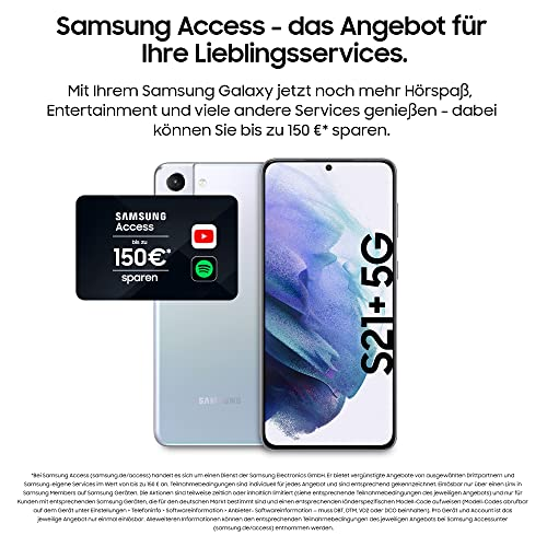Samsung Galaxy S21+ 5G, Android Smartphone ohne Vertrag, Triple-Kamera, Infinity-O Display, 256 GB Speicher, leistungsstarker Akku, Phantom Silver