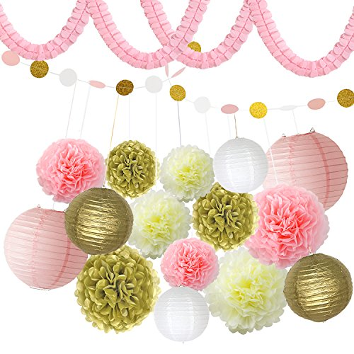 BeiLan Tissue Paper Pom Pom Flowers,Paper Lanterns,Four-Leaf Garland,Circle Garland Polka Dot Paper Kit Hanging Decoration for Christmas Birthday Wedding Carnival Baby Shower Party Bridal Shower