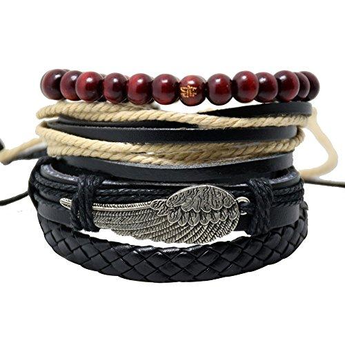 ht bracelets SENDIO Fashion Leather Bracelet Set Angel Wings Wood Beads Rope Bracelets Accessories