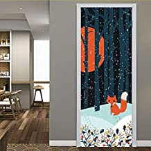 Kyzaa Anime Fox Forest Snow Night Door Pegatinas Autoadhesivas Pvc Dormitorio Wallpapers 3D   Decoración Para El Hogar Puerta Mural Diy Renovar Calcomanía