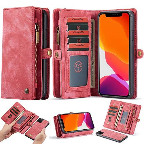 Esing - Funda de piel tipo cartera para iPhone 11 Pro Max con cierre magnético desmontable con ranuras para tarjetas de crédito, color rojo