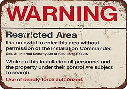 Ufcell Retro Vintage Tin Metal Sign 8x12 Warning Restricted Military Area 51 Wall Decor