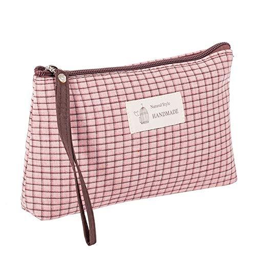 PoplarSun Sacs Treillis Cosmétiques Multicouleur Maquillage Mode Neceser for Voyage Etuis Mesdames Organisateur Pouch Femmes Sac cosmétique (Color : Pink)
