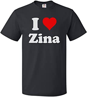 ShirtScope I Love Zina T Shirt I Heart Zina Tee