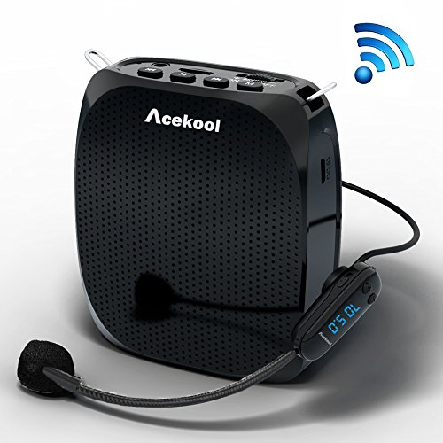 [Upgraded] Acekool Portable Wireless Voice Amplifier Microphone with Waistband, MP3 Player/U Disk/TF, 1800mAh Rechargeable Batteries for Teachers, Speakers, Yoga Instructors, Coaches and More