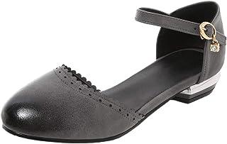 COOLCEPT Women Retro Flat Sandals Ankle Strap