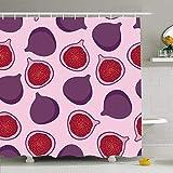 Conjunto de cortina de ducha con ganchos Higo púrpura Sin costura Media fruta Dulce Naturaleza Patrón de postre de verano Texturas vegetarianas Bebida de alimentos Tela de poliéster impermeable Decora