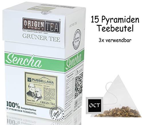 Origin Ceylon Tea Sencha Grüner Tee 15 Pyramiden-Teebeutel direkt von der Plantage aus Sri Lanka