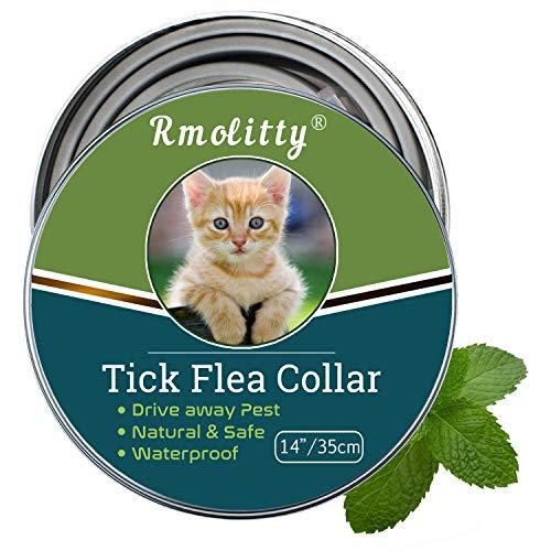 Rmolitty Collare Antipulci Zecche Gatto, Oli Naturali Trattamento delle Pulci 35cm per 8 Mesi di Protezione, per Catto Piccolo Medio Grande (35cm)