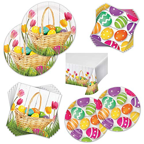 Easter Basket Bounty Party Pack - Serves 16 Guests - Farmhouse Easter Party Supplies Bundle with Paper Plates, Napkins & Tablecover. Cute & Colorful Easter Basket with Eggs Design