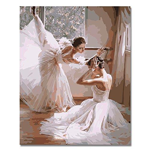 BOSHUN Pintar por Numeros para Adultos Niños Pintura por Números con Pinceles y Pinturas Decoraciones para el Hogar Bailarines de Ballet (16 * 20 Pulgadas, Sin Marco)
